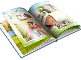 Opened hardcover photo book